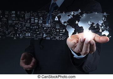 mondiale, homme affaires, projection, social, cocnept, 3d, réseau, structure