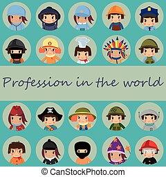 mondiale, icônes, professions