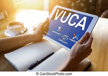 mondiale, incertitude, volatility, vuca, screen., concept, ...