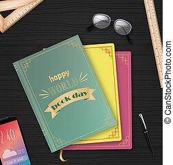 mondiale, livre, livres, pile, jour