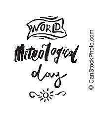 mondiale, météorologique, carte voeux, jour