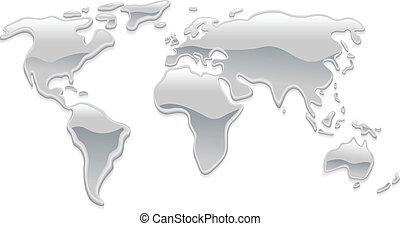 mondiale, métal, liquide, carte