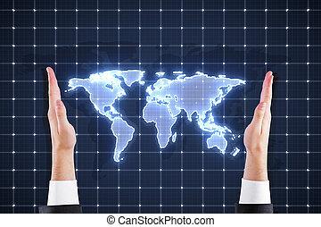 mondiale, mains, tenue, carte