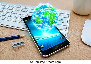 mondiale, mobile, cyber, téléphone, moderne