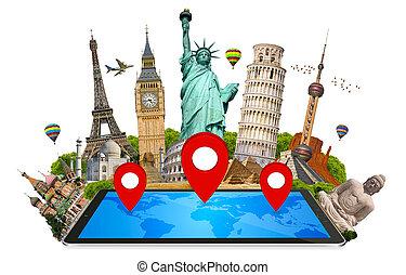 mondiale, moderne, tablette, monuments