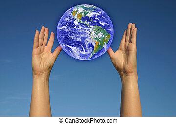 mondiale, mon, mains