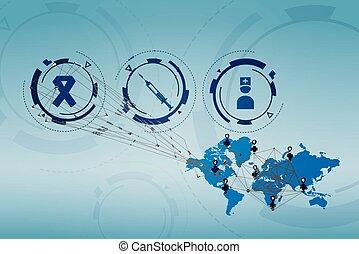 mondiale, monde médical, carte, icônes