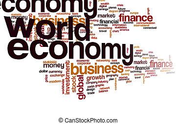 mondiale, mot, nuage, économie