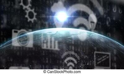mondiale, multimédia, animation, sur, symboles