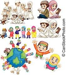 mondiale, musulman, familles, autour de