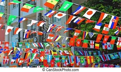 mondiale, national, drapeaux