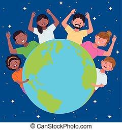mondiale, national, hispanique, célébration, gens, autour de, terre planète, héritage