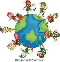mondiale, noël, elfes, autour de