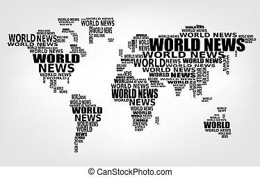 mondiale, nouvelles, concept., résumé, mondiale