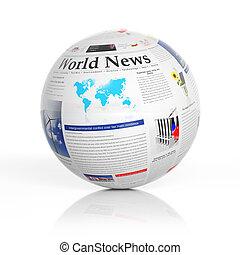 mondiale, nouvelles, représenté, par, a, journal, globe