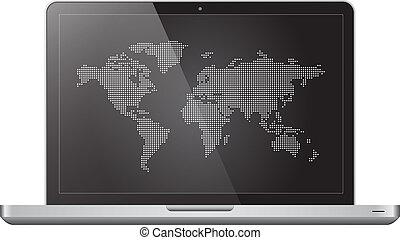 mondiale, ordinateur portable, pointillé, carte