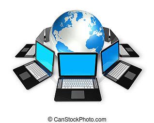 mondiale, ordinateurs portables, autour de, globe
