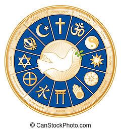 mondiale, paix, Colombe,  religions