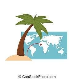 mondiale, palmier, carte