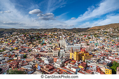 mondiale, panoramique, mexico., vue, héritage, guanajuato, site., unesco