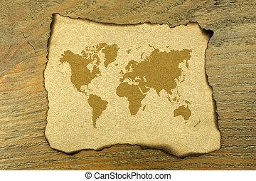 mondiale, papier, brûlé, carte