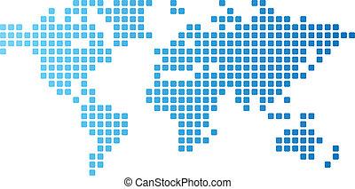 mondiale, pointillé, carte