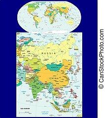 mondiale, politique, asie, carte