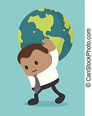 mondiale, porter, concept, business, homme affaires