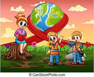 mondiale, prof, heureux, étudiant, jour, enseignement