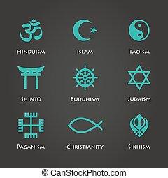 mondiale, religion, symboles, cyan, couleur