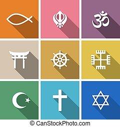 mondiale, religion, symboles, plat, ensemble