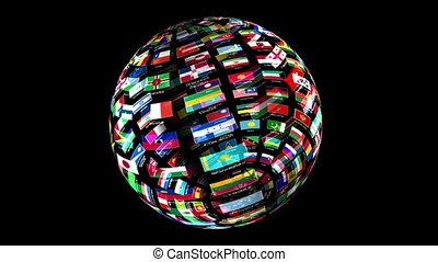 mondiale, rotation, drapeaux, globe