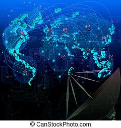 mondiale, satellite, télécommunication