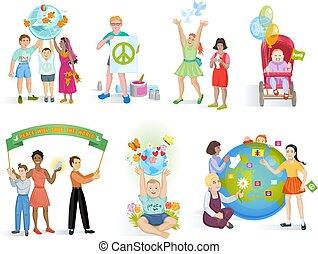 mondiale, set, terrestre, mondo, persone, pace, ragazze, isolato, illustrazione, pianeta, ragazzi, bambini, vettore, insieme, fondo, pacifico, terra, bianco, amicizia, o