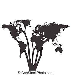 mondiale, silhouette, illustration, arbre, carte
