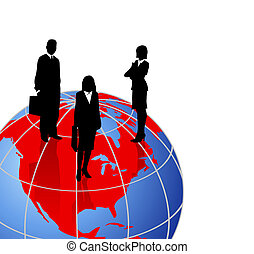 mondiale, silhouettes, globe