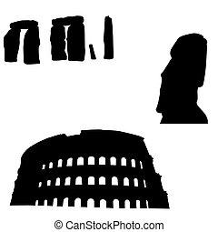 mondiale, silhouettes, monuments