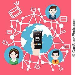 mondiale, smartphone, envoyer, envoie e-mail commercialisation