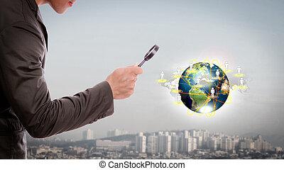 mondiale, sous, petit, nasa), ceci, image, verre, magnifier...