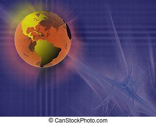 mondiale, sphère, virtuel, space.