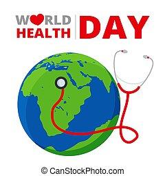 mondiale, stéthoscope, concept, globe, jour, santé