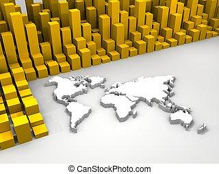 mondiale, stockage, autour de, illustration, commercer