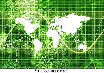 mondiale, stockage, marché vert, économie