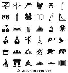 mondiale, style, ensemble, différent, icônes simples