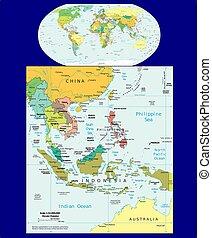 mondiale, sud-est, politique, asie, carte