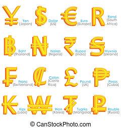 mondiale, symbole, monnaie