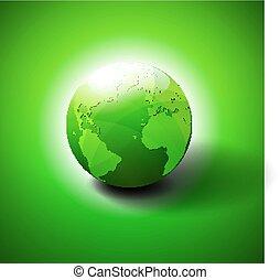 mondiale, symbole, vert, icône