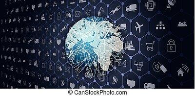 mondiale, télécommunication globale, réseau