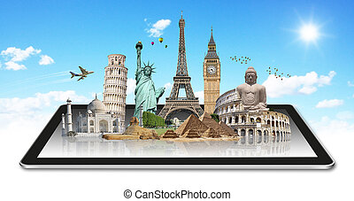 mondiale, tactile, tablette, monuments