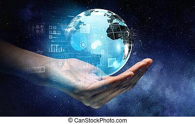 mondiale, technologies, connecter